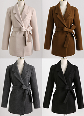 20Wool mix Belted Long Blazer, Styleonme