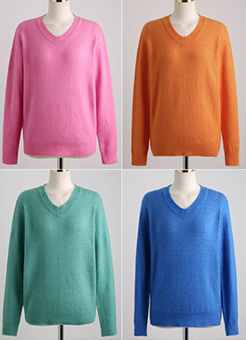 (1+1) Lovely 7Color Basic V-neck Knit Top, Styleonme