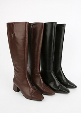 Daily Side Zip Knee High Boots, Styleonme