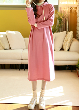 Fleece-lined Soft Hoodie Dress, Styleonme