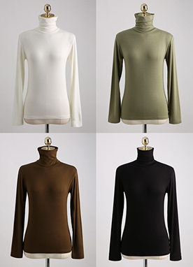 (1+1) Tense Warm and Soft Basic Turtleneck Top, Styleonme
