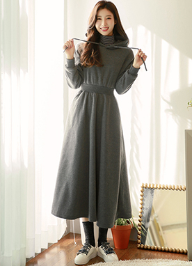 Relaxed Hooded Dress with fitted waist, Styleonme