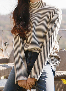 Stripe Mock Neck Long Sleeve Top, Styleonme