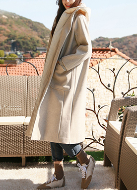 Padded 30Wool mix Long Hooded Coat, Styleonme
