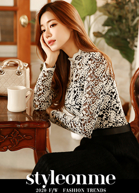 Delicate Winter Lace Top, Styleonme
