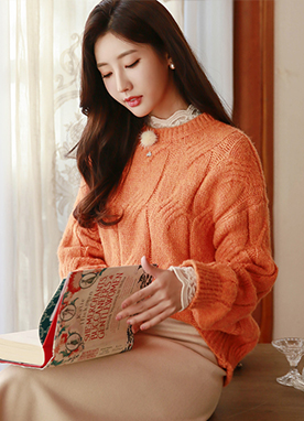 Bright Pastel Cable Knit Jumper, Styleonme