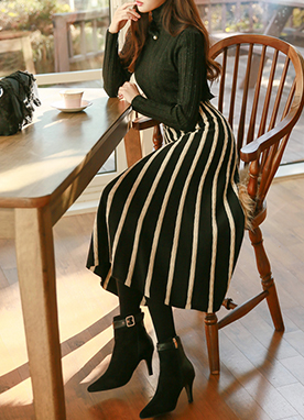 Maxi Knit Skirt with Vertical Stripes, Styleonme