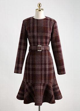 Red Tartan Check Tiered Dress, Styleonme