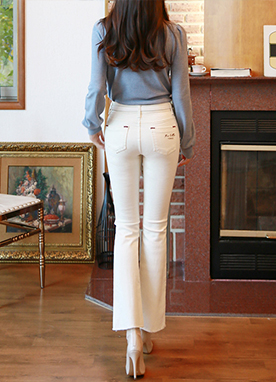 Soft Fleece-lined Boot cut Cotton Pants, Styleonme