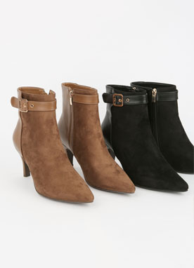 Belt Strap Heeled Boots, Styleonme