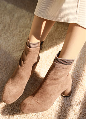 Suede Heeled Boots with Sock detail, Styleonme