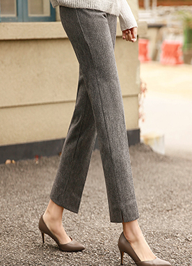 Herringbone Fleece-Lined Straight fit Slacks, Styleonme