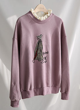 Lovely Fleece-lined Frilled Sweatshirt, Styleonme