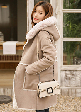 Faux Fur Hooded Shearling Mustang Coat, Styleonme