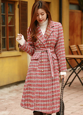 10Wool mix Bright Check Coat, Styleonme