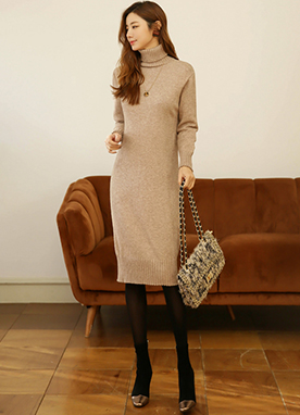 Natural Tone Soft Touch Turtleneck Long Knit Dress, Styleonme