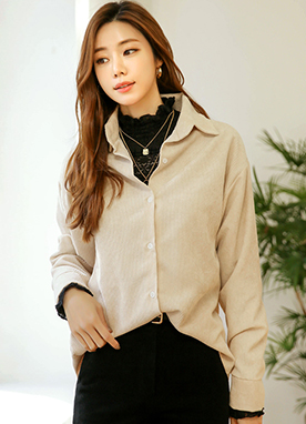 Relaxed fit Corduroy Button up Shirt, Styleonme