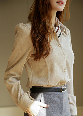 Lovely Mood Corduroy Shirt, Styleonme