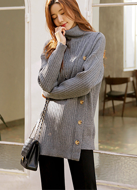 Side button up Roll neck Jumper, Styleonme