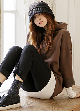 Fleece-lined Oversized Long Hoodie, Styleonme
