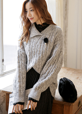 Soft Unbalanced Collar Cable Knit Jumper, Styleonme