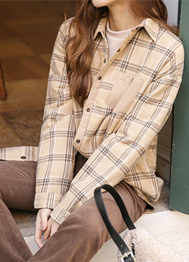 Tartan check Padded Oversized Flannel, Styleonme