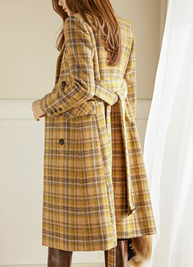 Bright 50Wool mix Check Coat, Styleonme