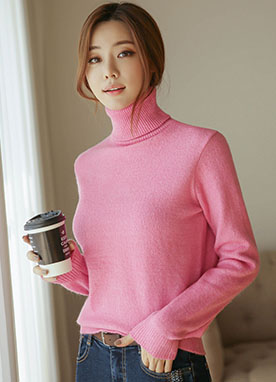 70Acrylic mix Basic Turtleneck Jumper, Styleonme