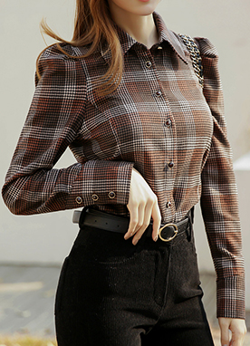 Puff Sleeve Gem Button Check Shirt, Styleonme