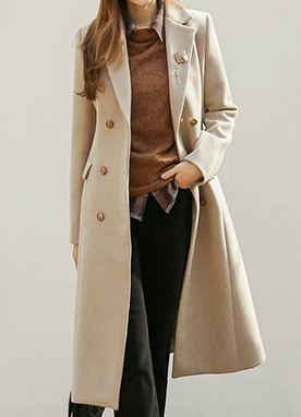 Classic 20Wool mix Double Breasted Long Coat, Styleonme