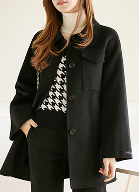 Essential 90Wool mix Handmade Half Coat, Styleonme