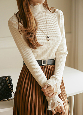 Lace Cuff Ribbed Turtleneck Knit Top, Styleonme