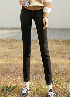 Fleece-lined Low Waist Black Jeans, Styleonme