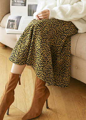 Leopard Print A-line Long Skirt, Styleonme