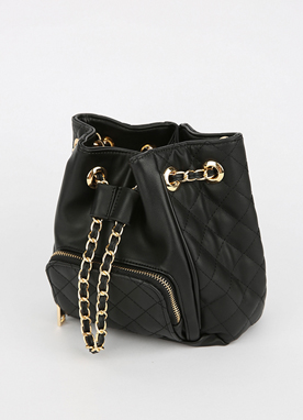 Gold Chain Quilt Bucket Bag, Styleonme