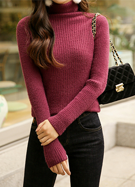 Fuzzy Ribbed Turtleneck Knit Top, Styleonme