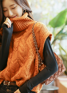 Thick Cable knit Vest, Styleonme