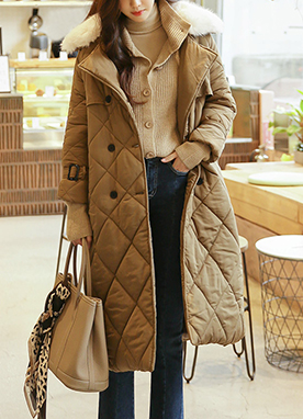 Fur Collar Padded Trench Coat, Styleonme