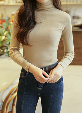 (1+1)Fleece-lined Close fit Turtleneck Top, Styleonme