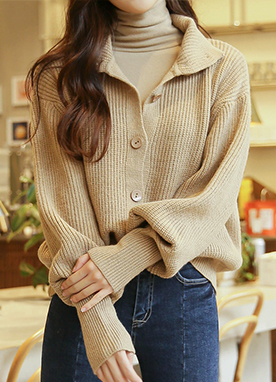 High Neck Ribbed Button Up Jumper, Styleonme