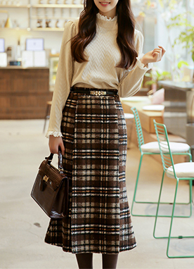 25 Wool mix Check Print Mermaid Midi Skirt, Styleonme