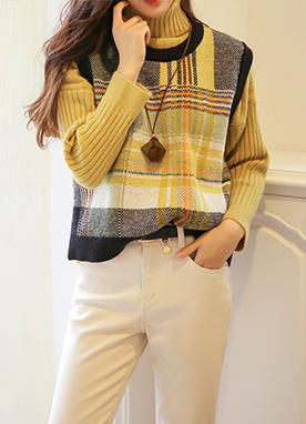 Yellow Accent Check Print Knit Vest, Styleonme