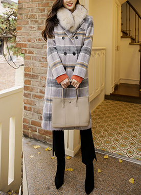 Double-breasted Check Coat in Soft Colors, Styleonme