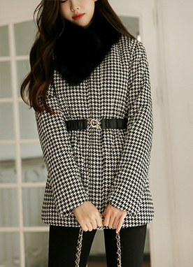 Houndstooth Check Print Quilt Jacket with Belt, Styleonme