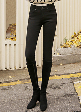 Fleece-lined Deep Black Skinny Pants, Styleonme