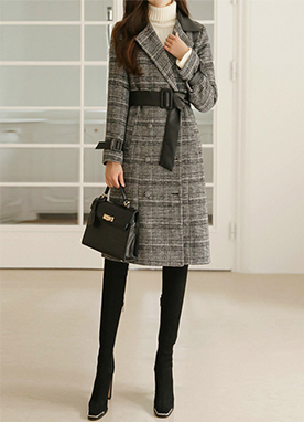 Leather Combined Belted Long Coat, Styleonme