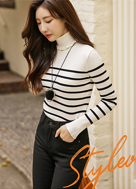 Frill Turtleneck Stripe Ribbed Knit Top, Styleonme