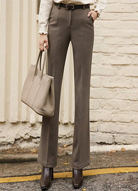 Daily Simple Fleece-lined Bootcut Slacks, Styleonme