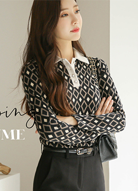Pearl Button Diamond Pattern Collared Top , Styleonme