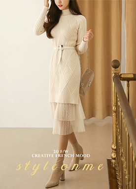 Mock Neck Diamond Knit Dress&Lace Skirt, Styleonme